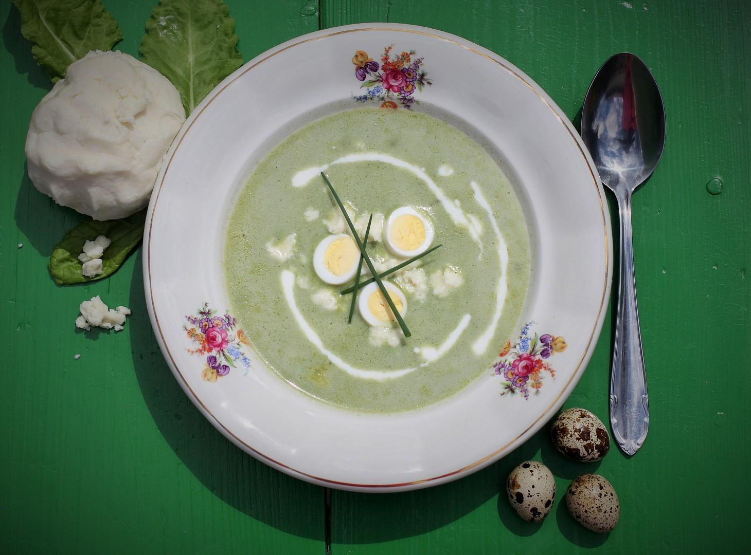 Brynzová polévka se špenátem