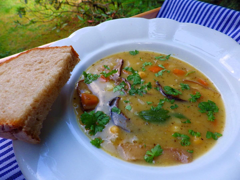 Houbová polévka s cizrnou a zeleninou