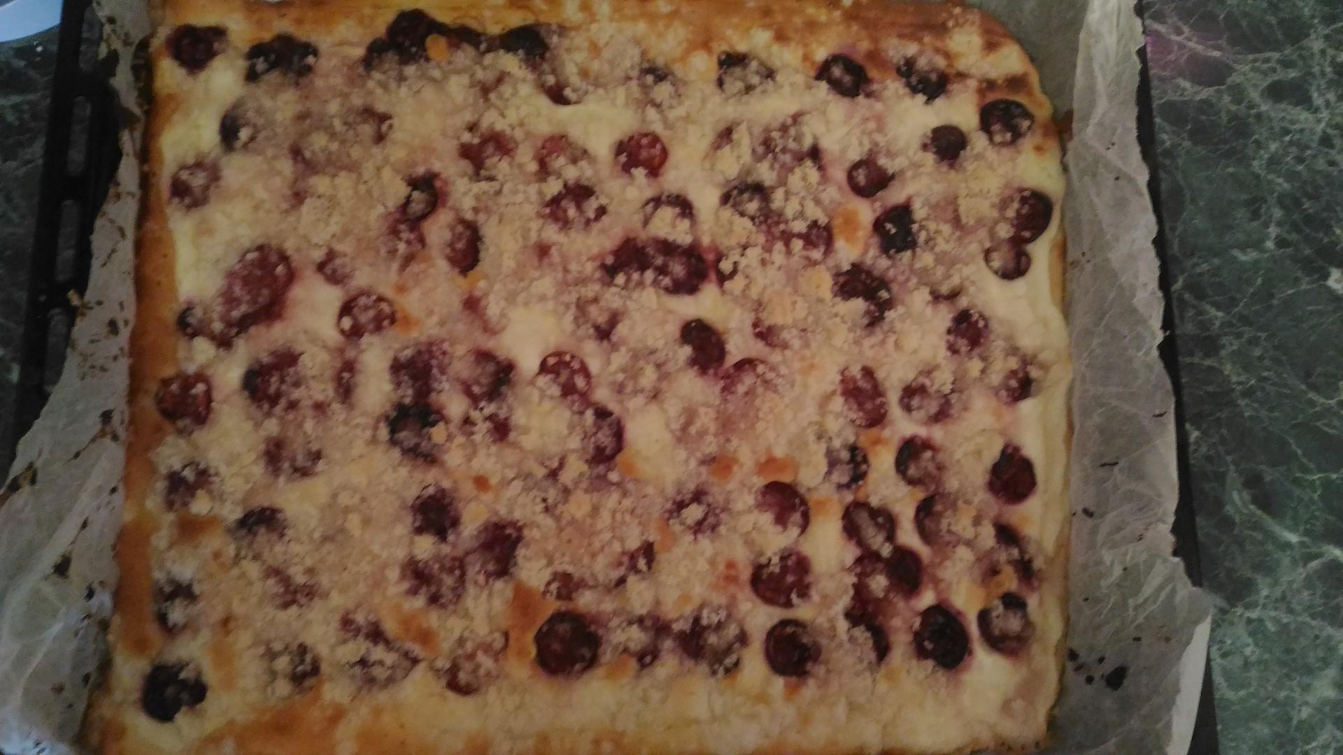 Jemný třešňový koláč s drobenkou