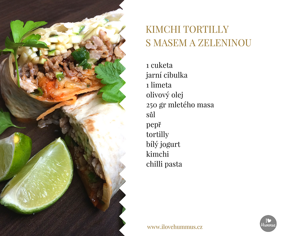 Kimchi tortilly s masem a zeleninou