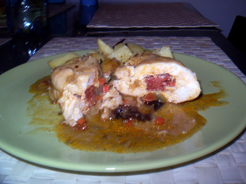 Pikantní kuřecí závitky s lehce zeleninovým sosem
