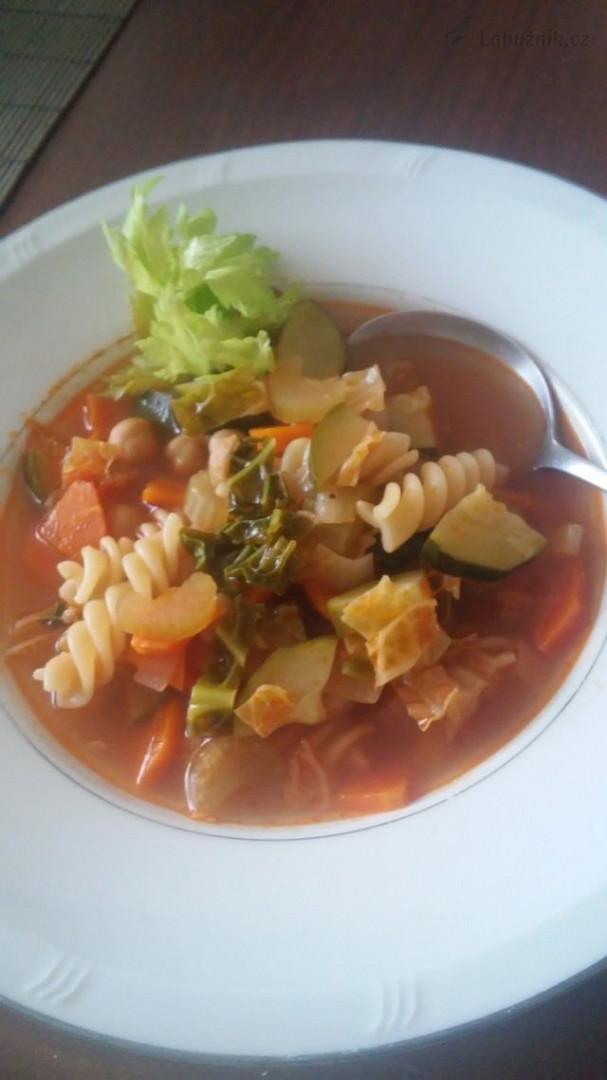 Podzimní zeleninová polévka připomínající Minestrone