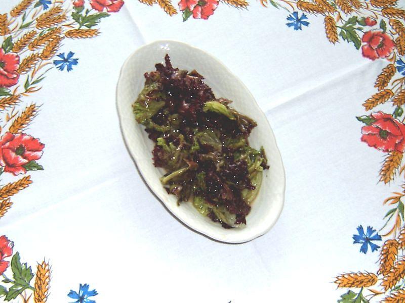 Salát Lollo Rosso s hořčičnou zálivkou