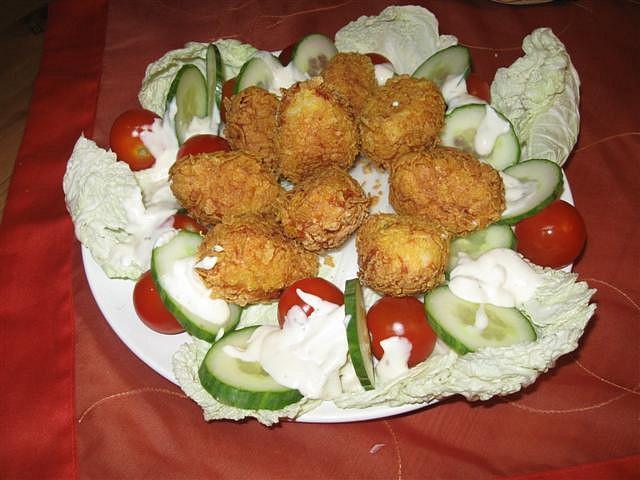 Sýrové krokety s kukuřičnými křupínky