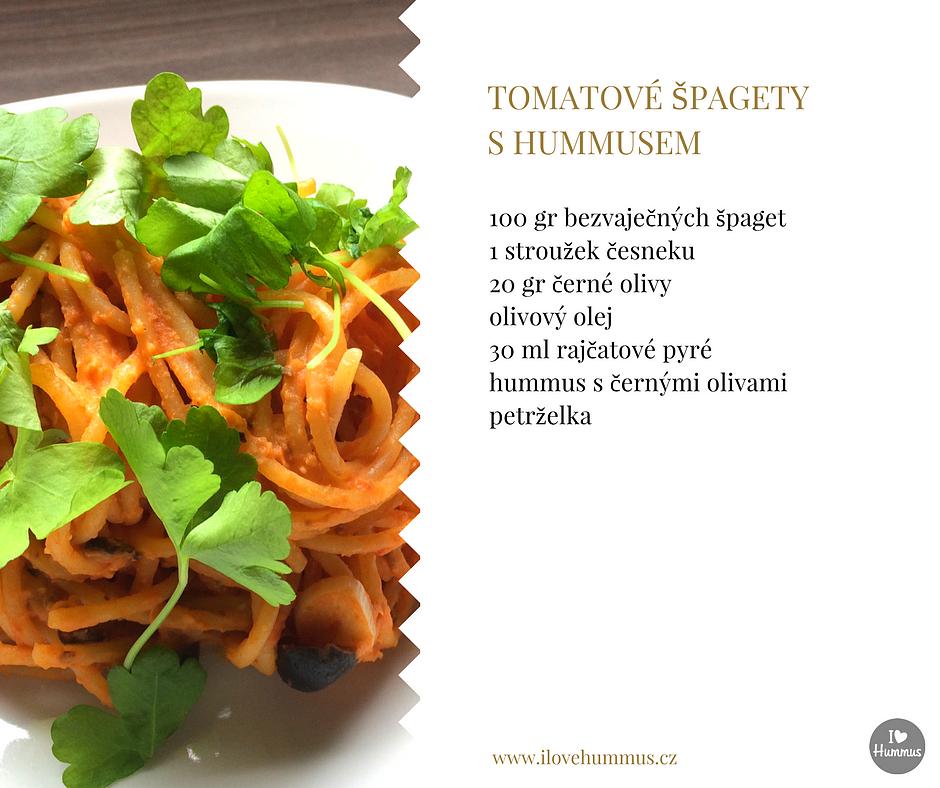 Tomatové špagety s hummusem