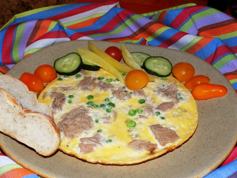 Tuňáková omeleta s hráškem
