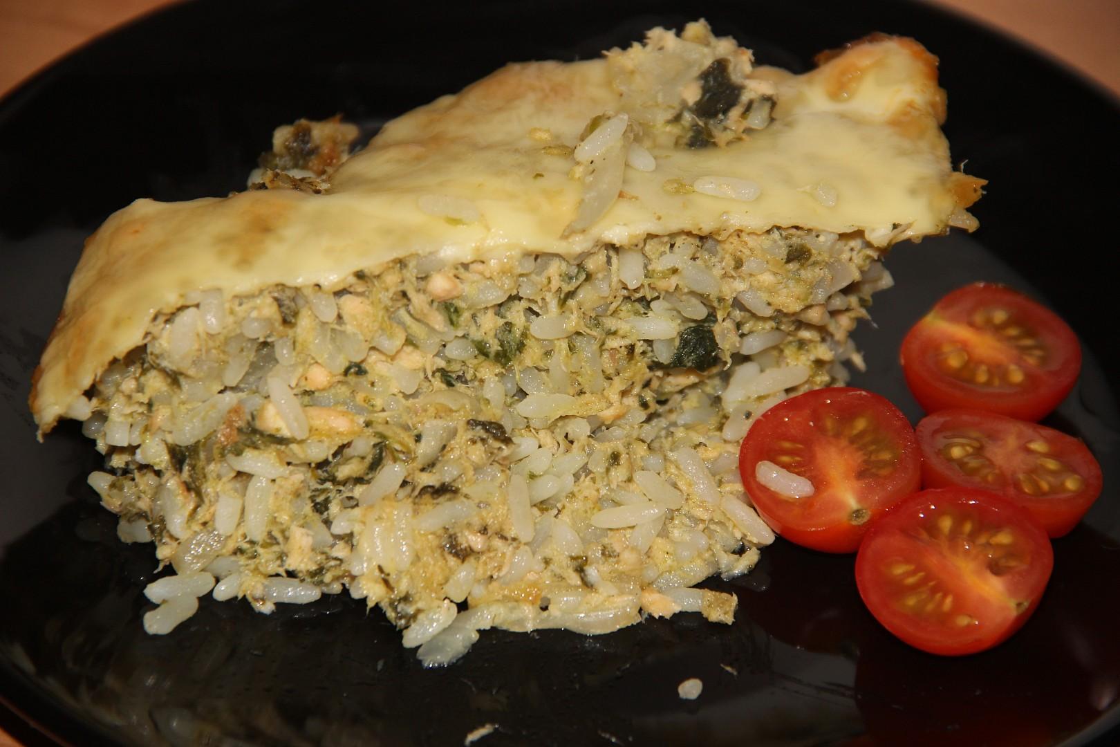 Zapečené rizoto s lososem a špenátem