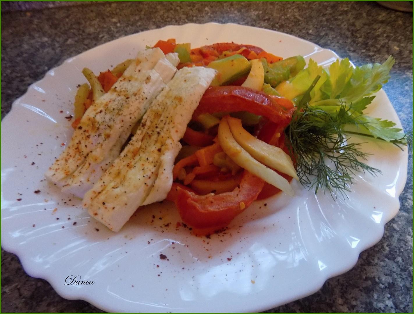 Zeleninový semafor s grilovaným šmakounem